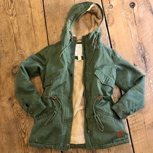 ELEMENT Green Canvas Utility Jacket with Sherpa